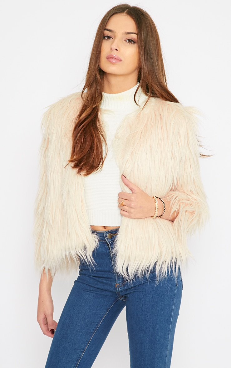 Pamela Blush Mongolian Faux Fur Cropped Coat  1