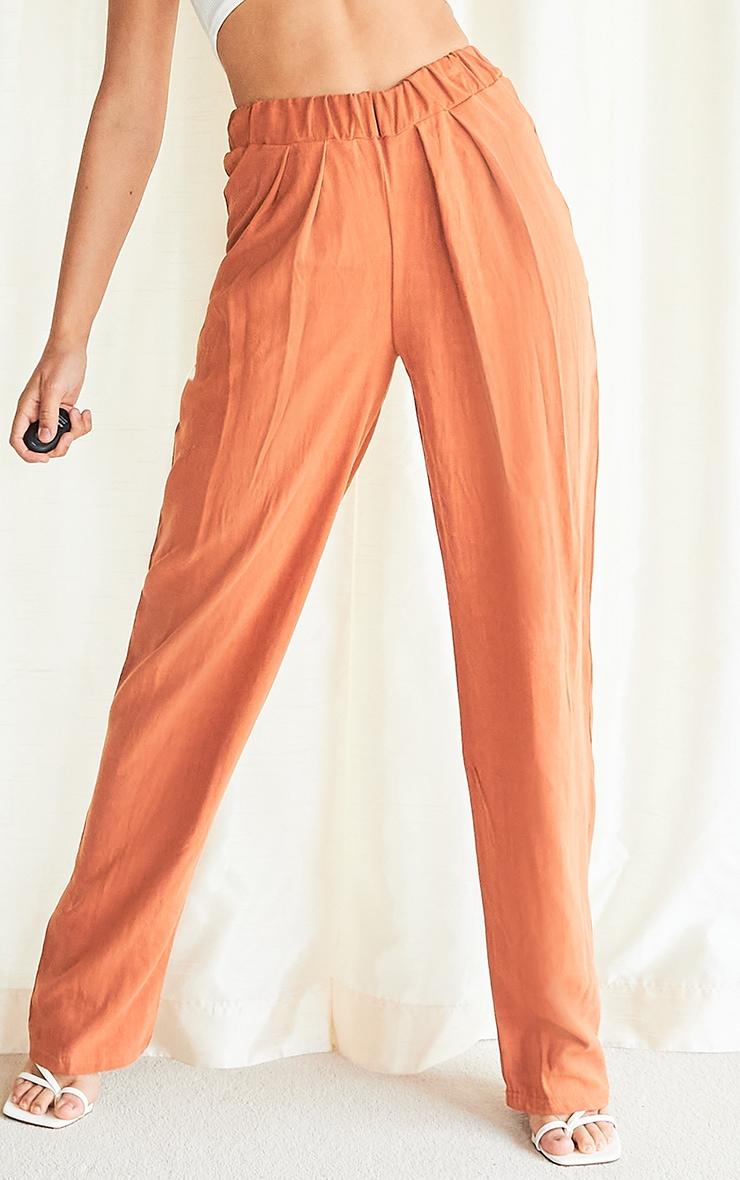 Rust Linen Look Straight Leg Pants 2