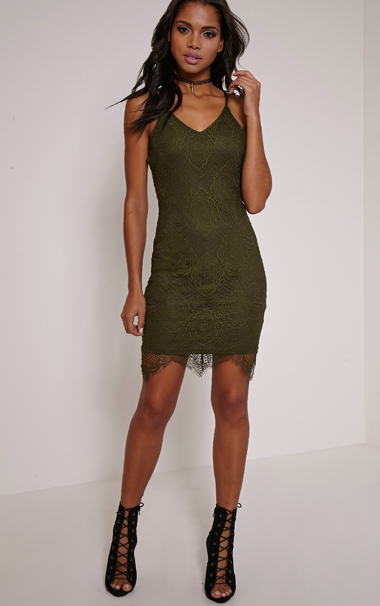 Luca Khaki Scalloped Lace Halterneck Bodycon Dress 3