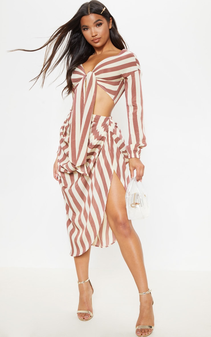 Tan Stripe Ruched Side Midi Skirt 1