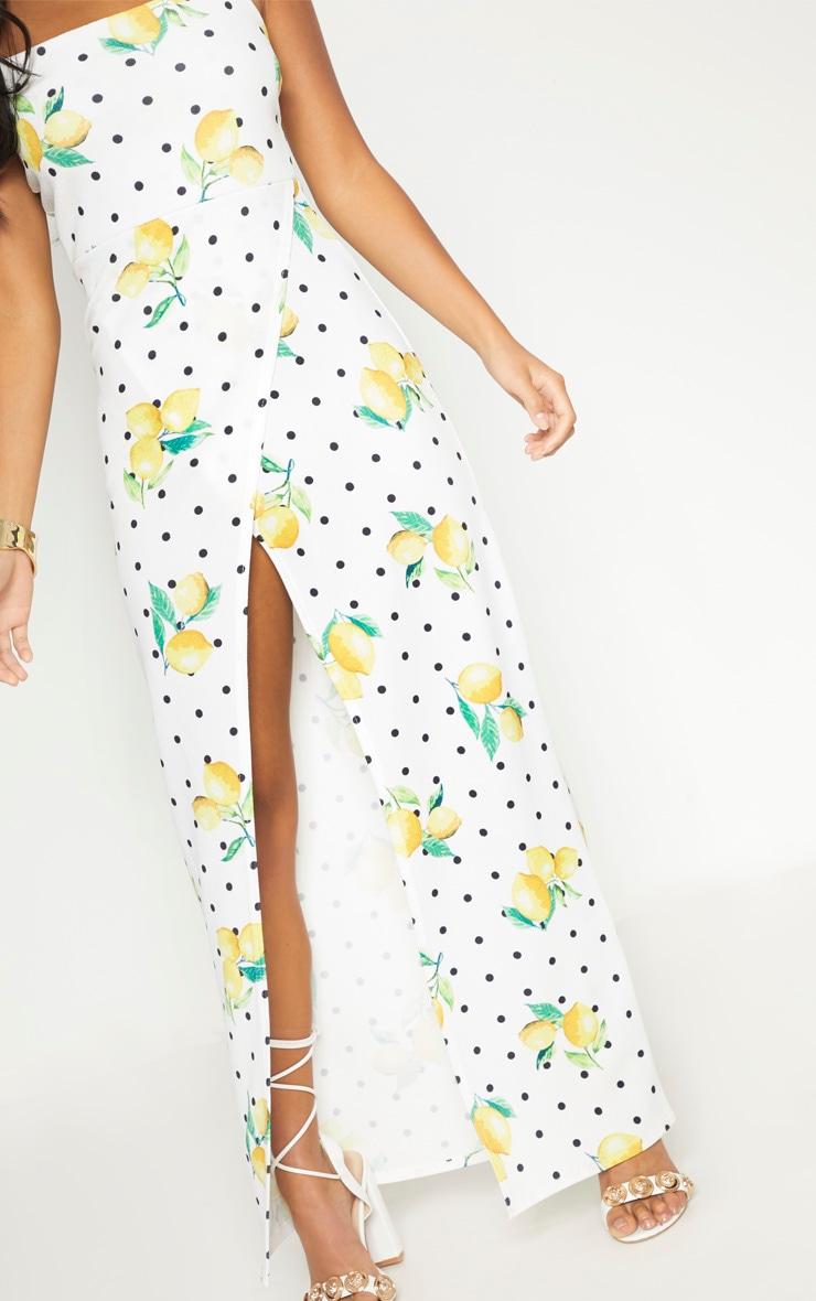 Petite White Polka Dot Lemon Print  Wrap Maxi Dress 5
