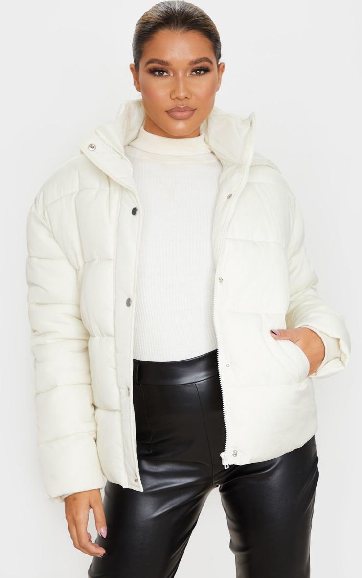 Cream Peach Skin Hooded Puffer Jacket 1