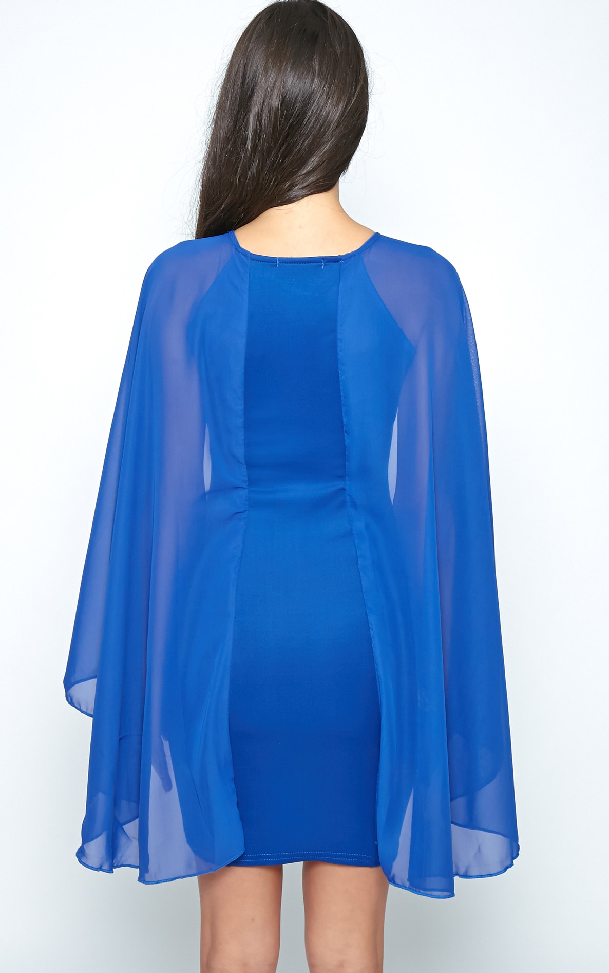 Kayte Cobalt Bodycon Dress With Chiffon Batwing Sleeves 2