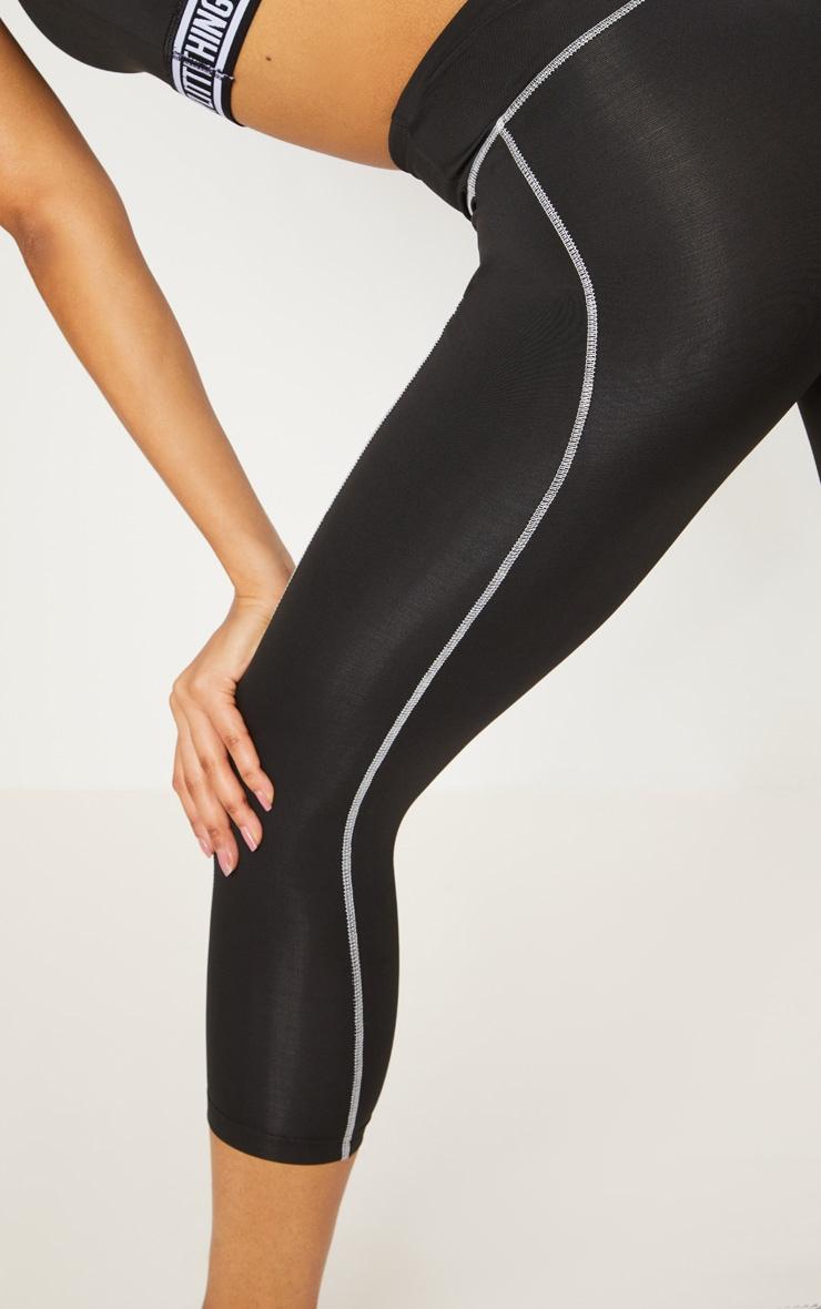 Black Contrast Sports 3/4 Leggings 5