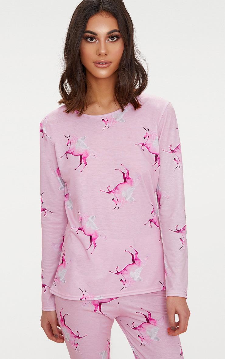 Ensemble de pyjama rose à motifs licornes et manches longues PRETTYLITTLETHING 5