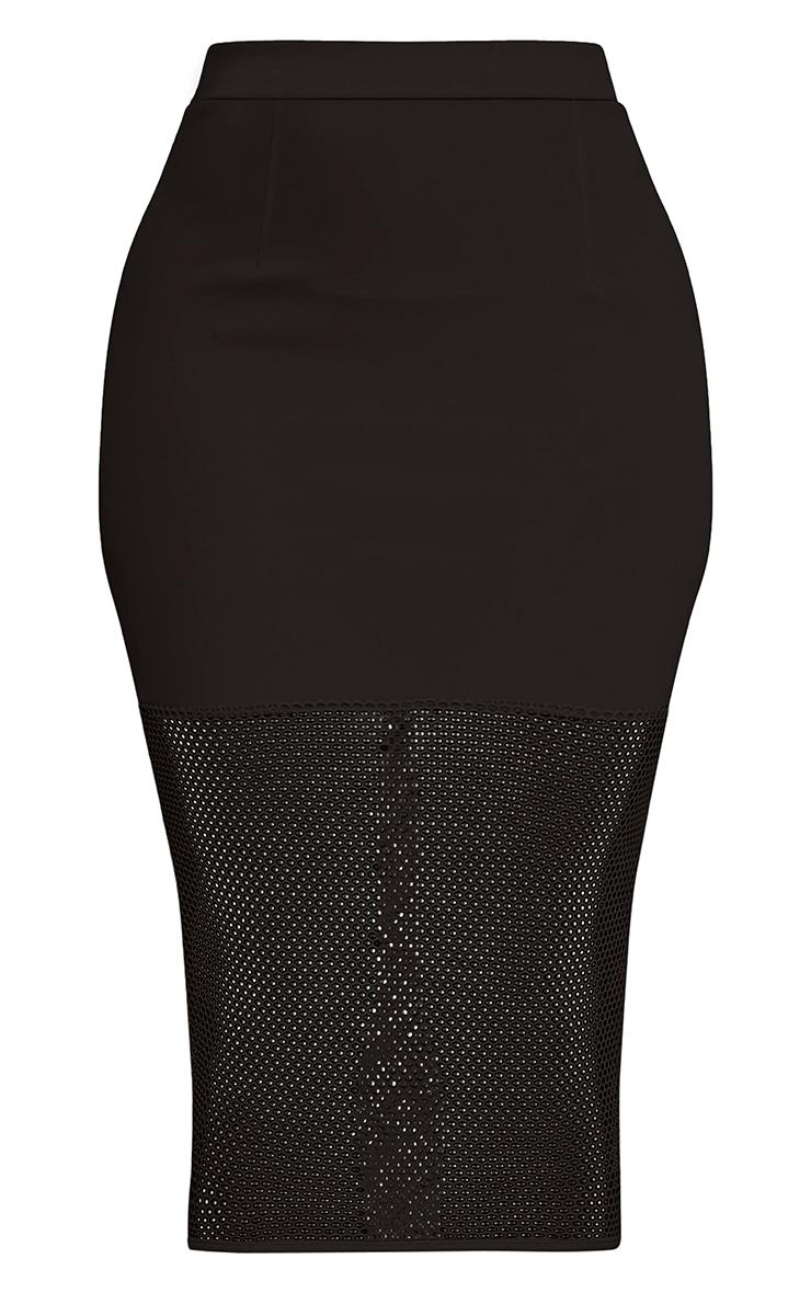 Lina Black Fishnet Hem Midi Skirt 3