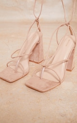 Nude Wide Fit Faux Suede Toe Detail Lace Up Block Heeled Sandals 4