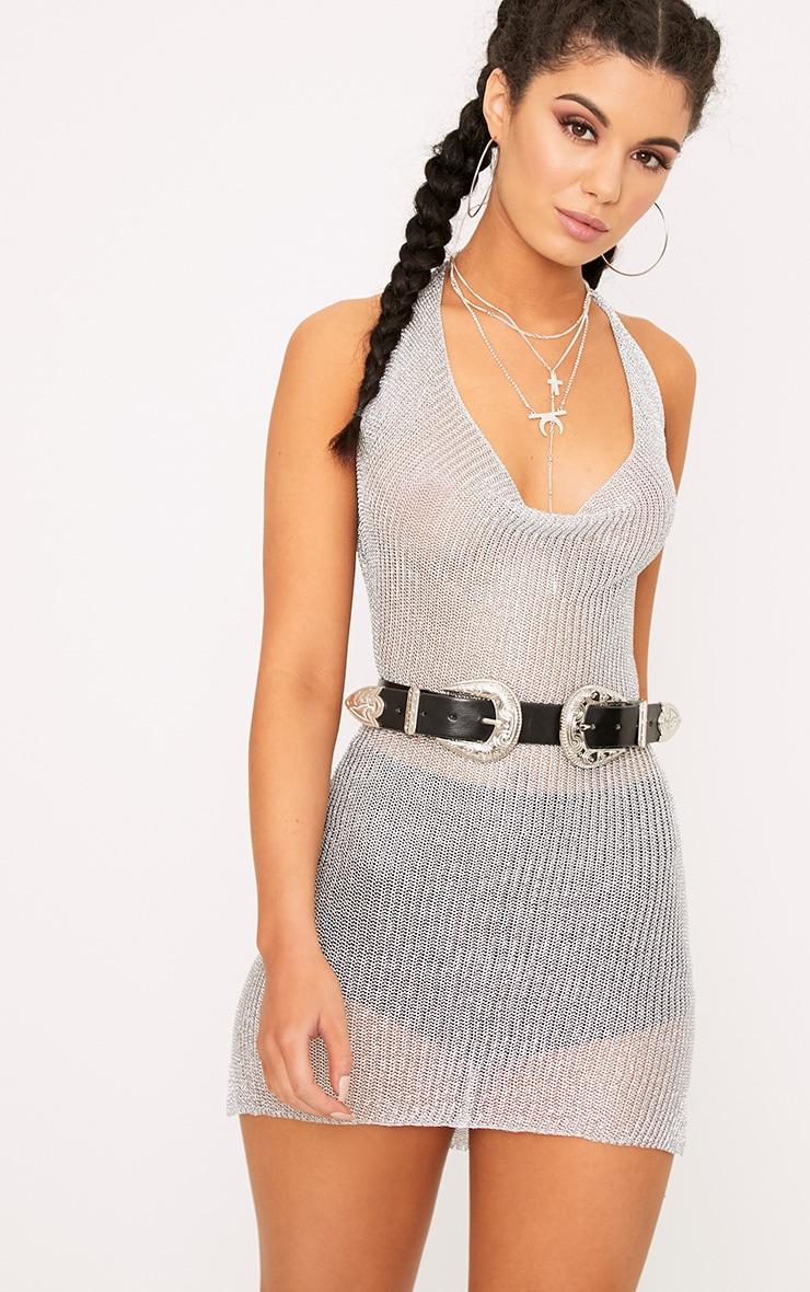 Jaz Silver Metallic Knit  Cowl Neck Mini Dress 1