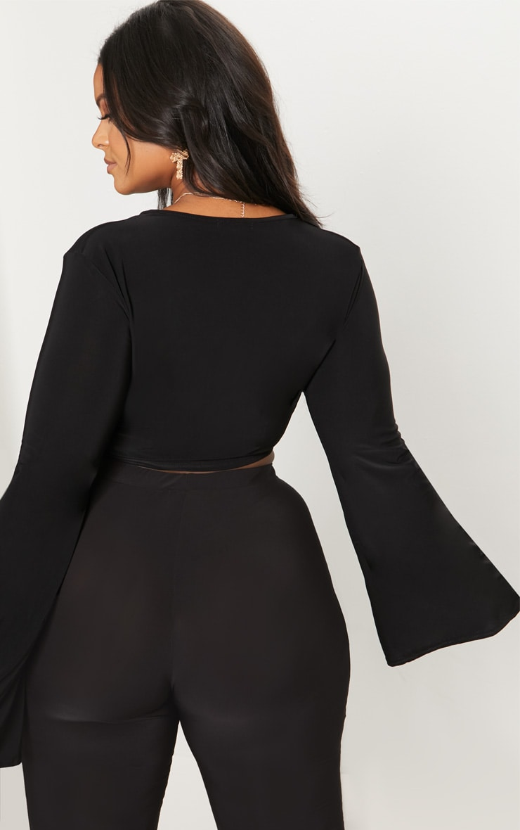 Plus Black Slinky Wrap Waist Crop Top 2