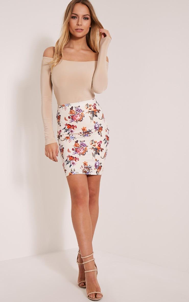 Betty Cream Floral Bodycon Mini Skirt 6