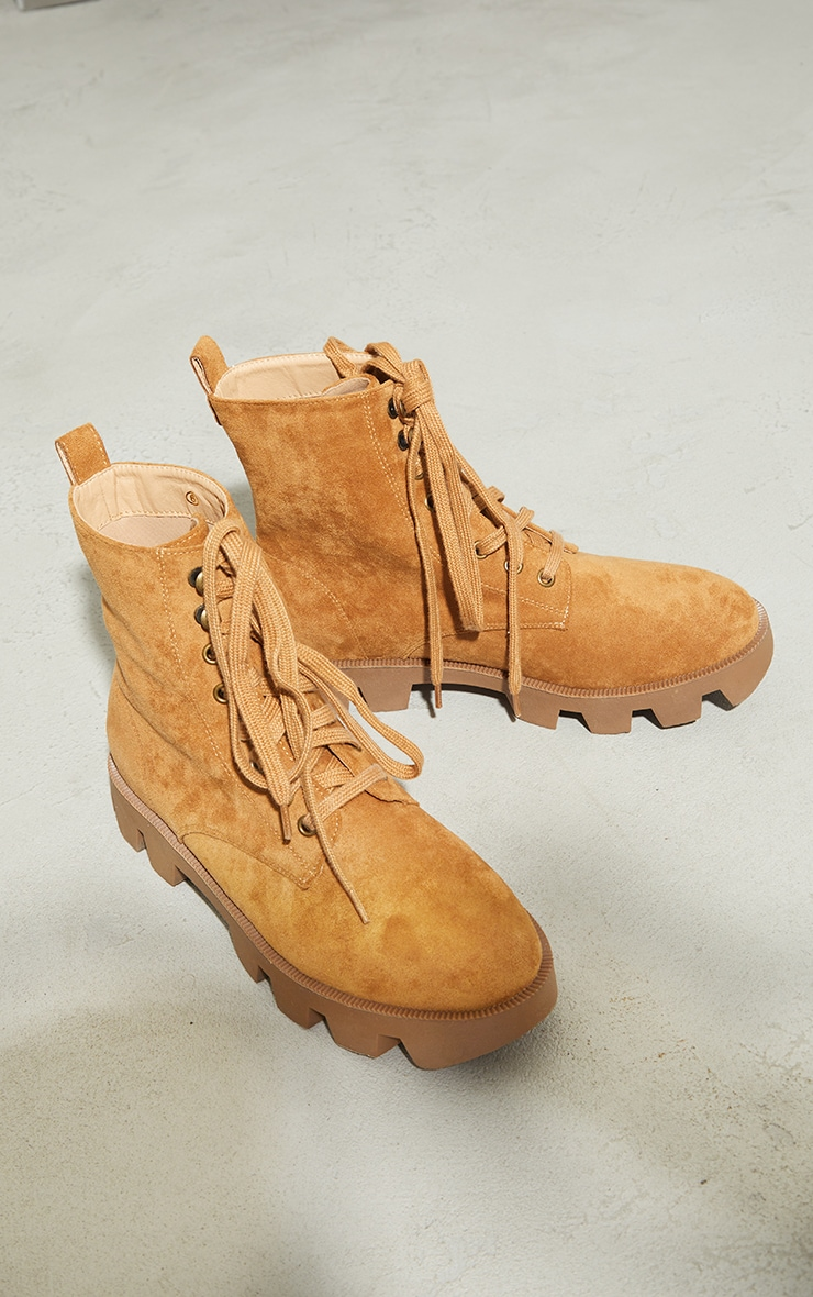 Beige Suede Extreme Cleat Chunky Lace Up Ankle Boots 3
