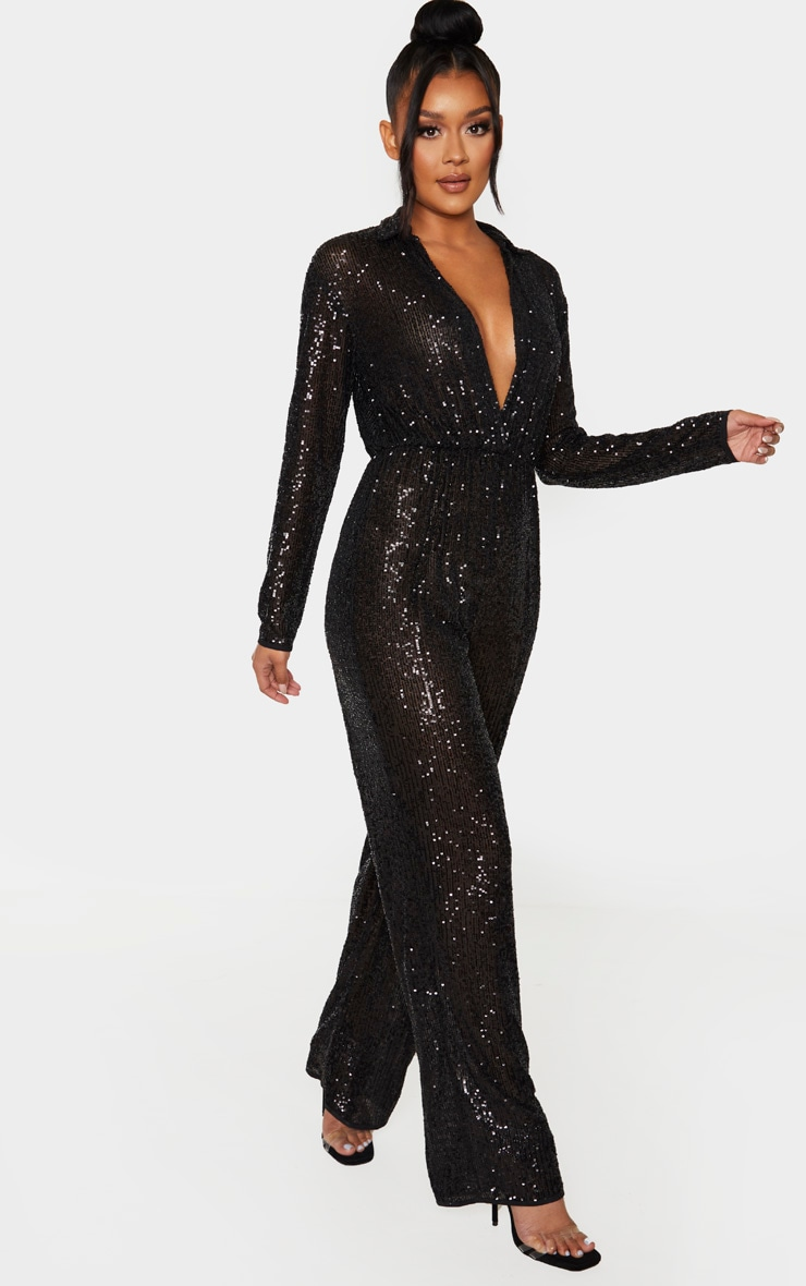 Black Sequin Collar Detail Long Sleeve Jumpsuit 4