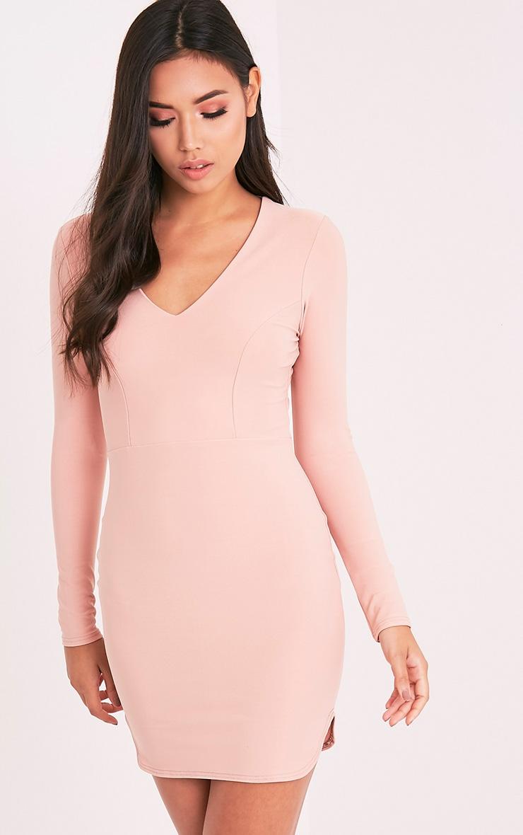 Shylo Blush Long Sleeve Plunge Bodycon Dress 5