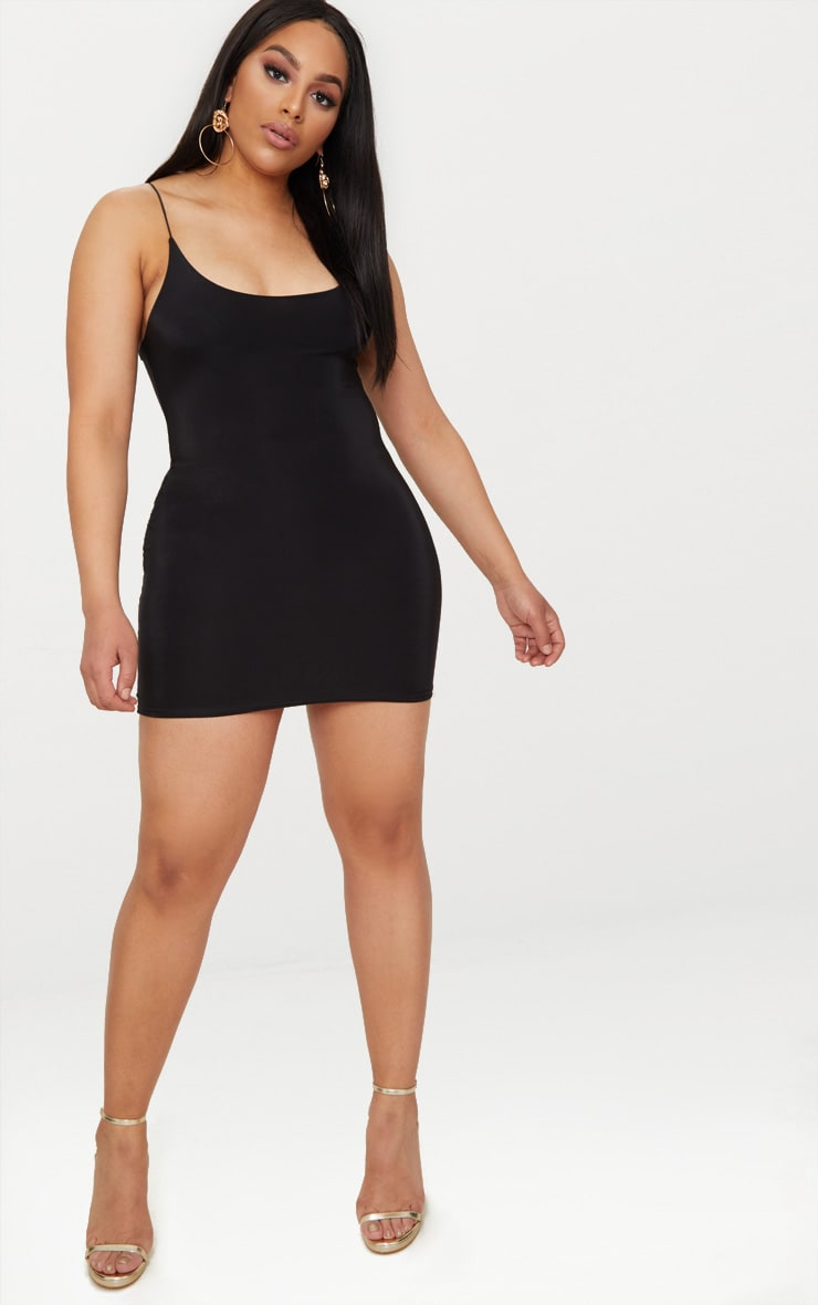 Plus Black Second Skin Slinky Spaghetti Strap Bodycon Dress 3
