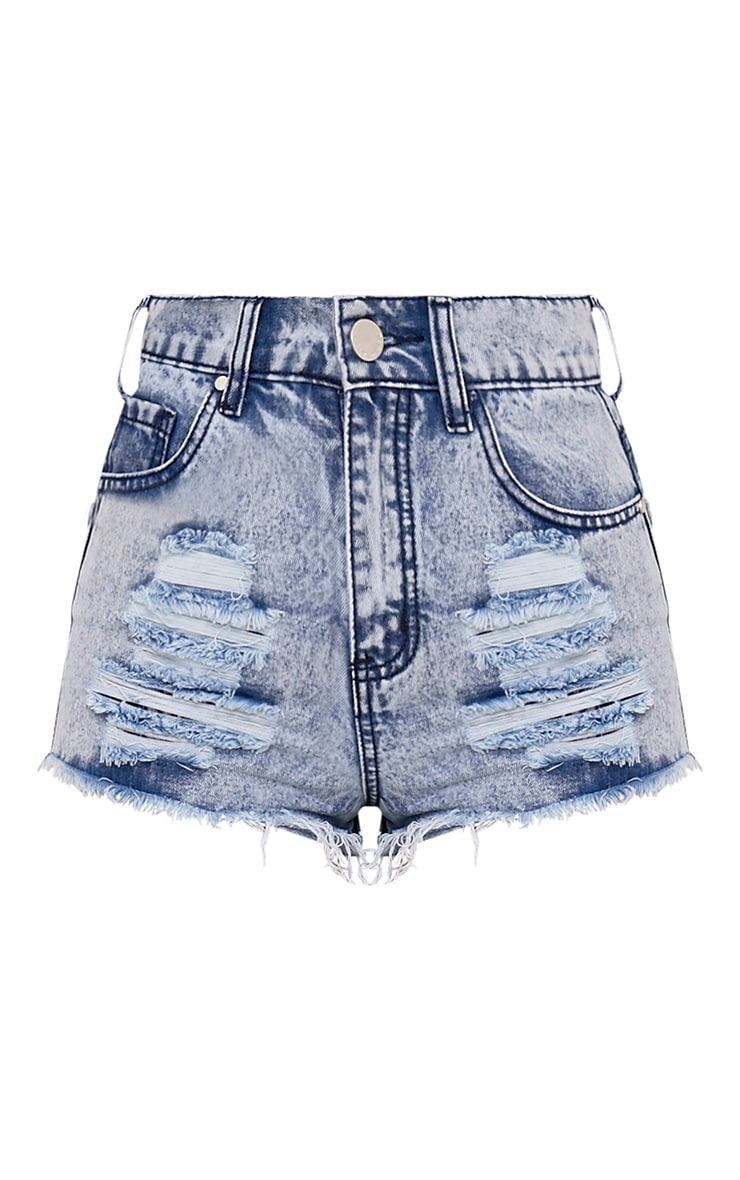 Elana Vintage Wash Ripped Denim Hotpants 3