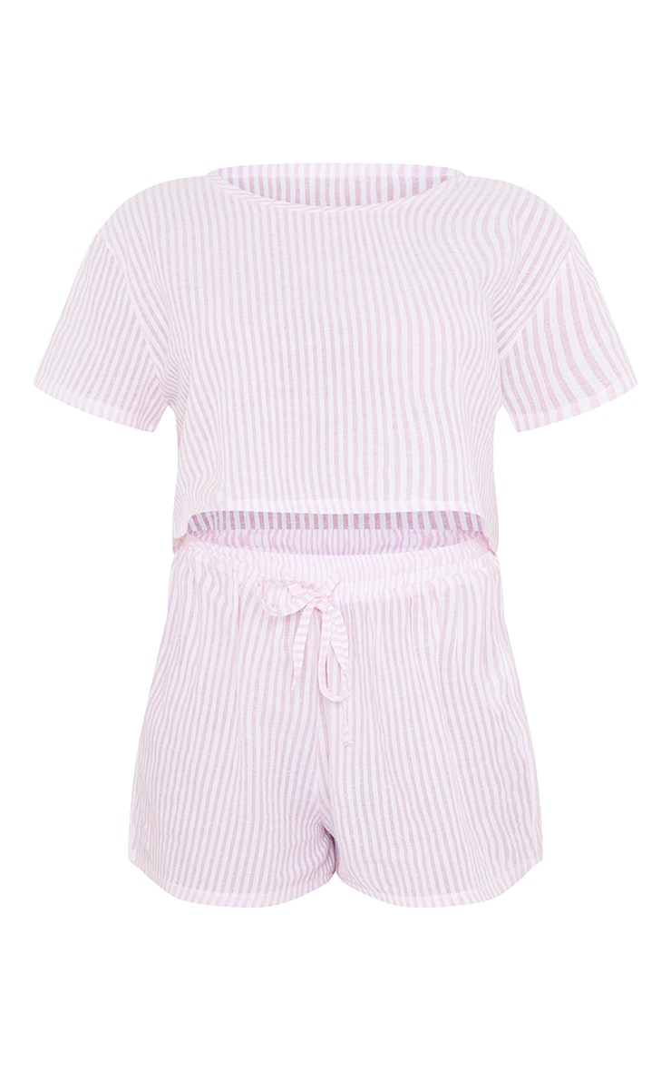 Pink Striped Cotton Cropped Short Sleeve Top And Shorts PJ Set With Scrunchie 5