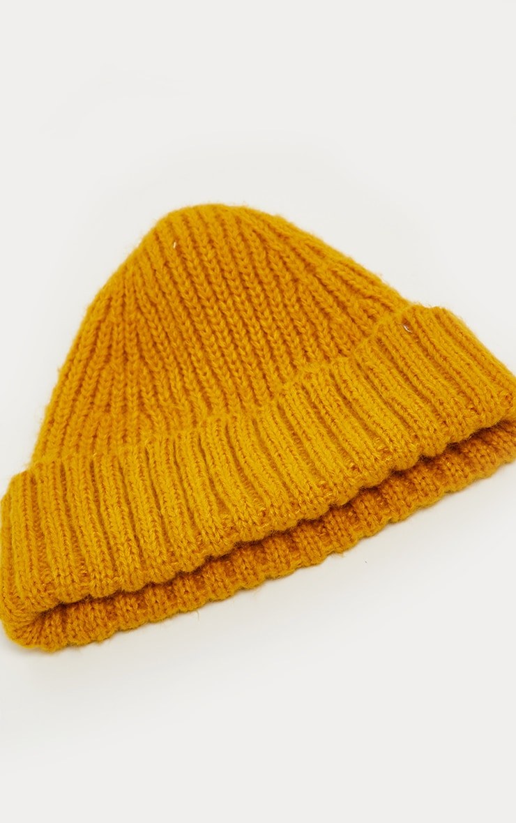 Mustard Ribbed Knitted Beanie 2