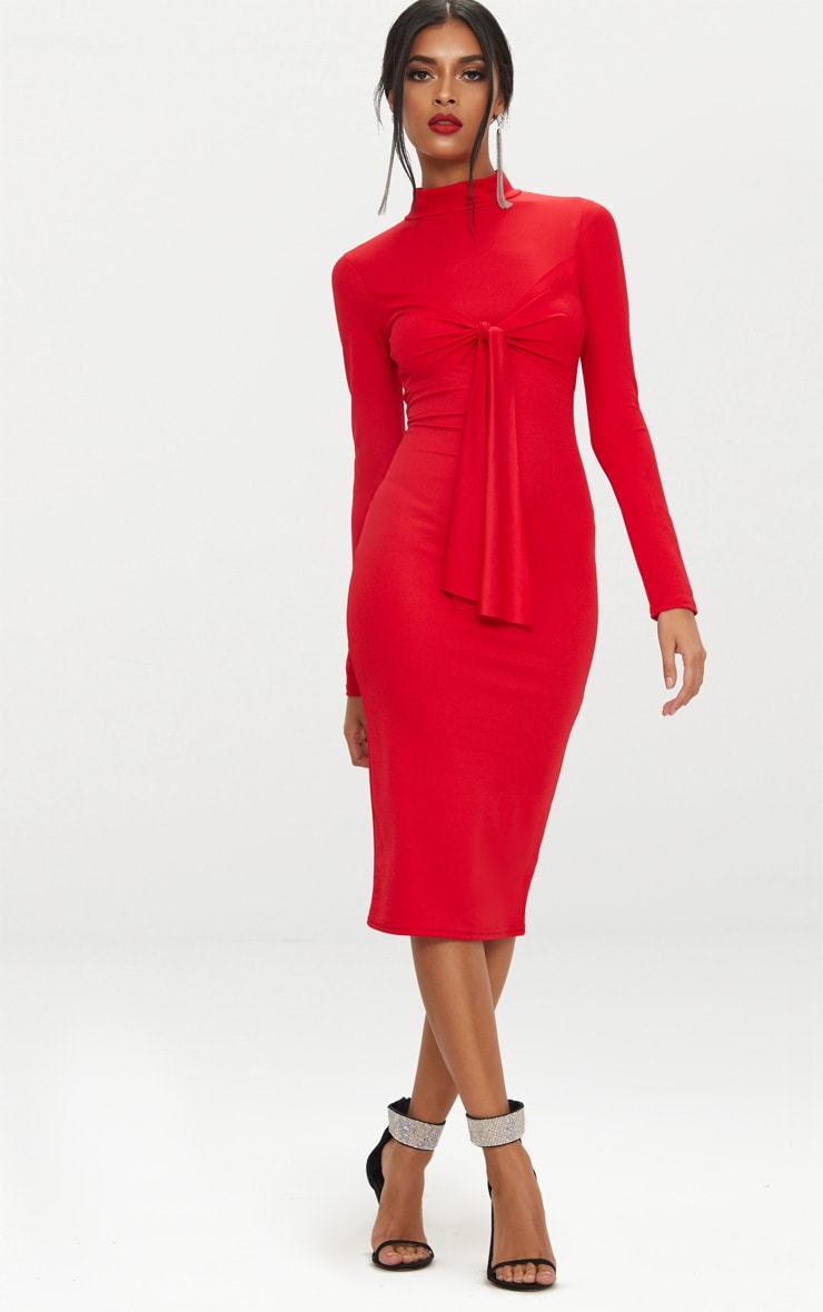 08aab3d5b3ba Red High Neck Long Sleeve Tie Detail Midi Dress image 1