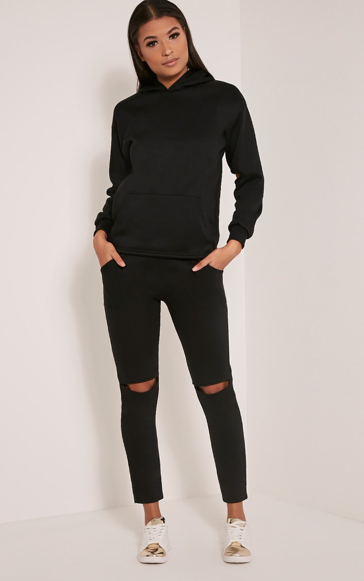 Dionne Black Slit Knee Joggers 1
