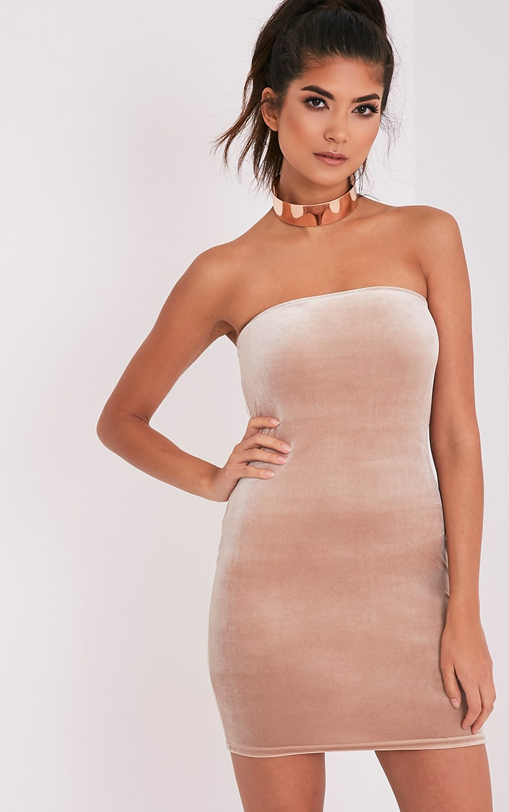 Shany Champagne Velvet Bandeau Bodycon Dress 1