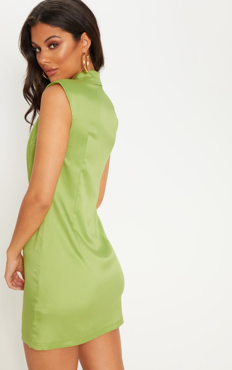 Lime Sleeveless Tortoise Button Detail Blazer Dress 2