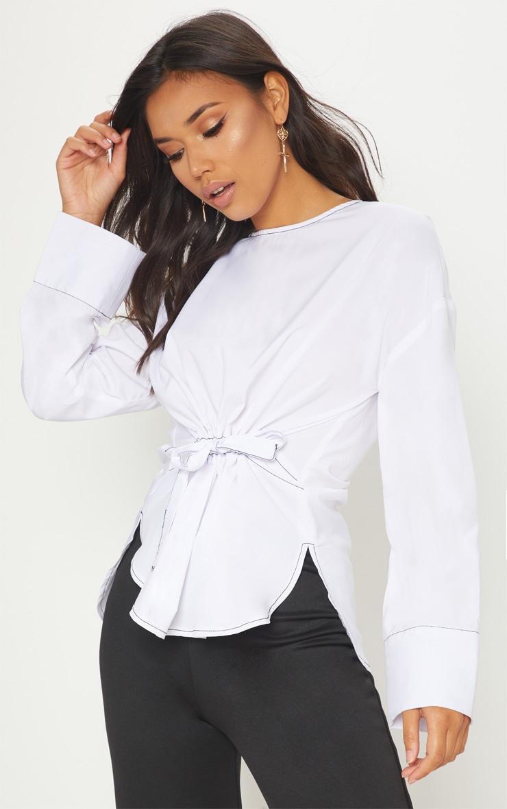 White Woven Contrast Stitch Gathered Waist Shirt 1