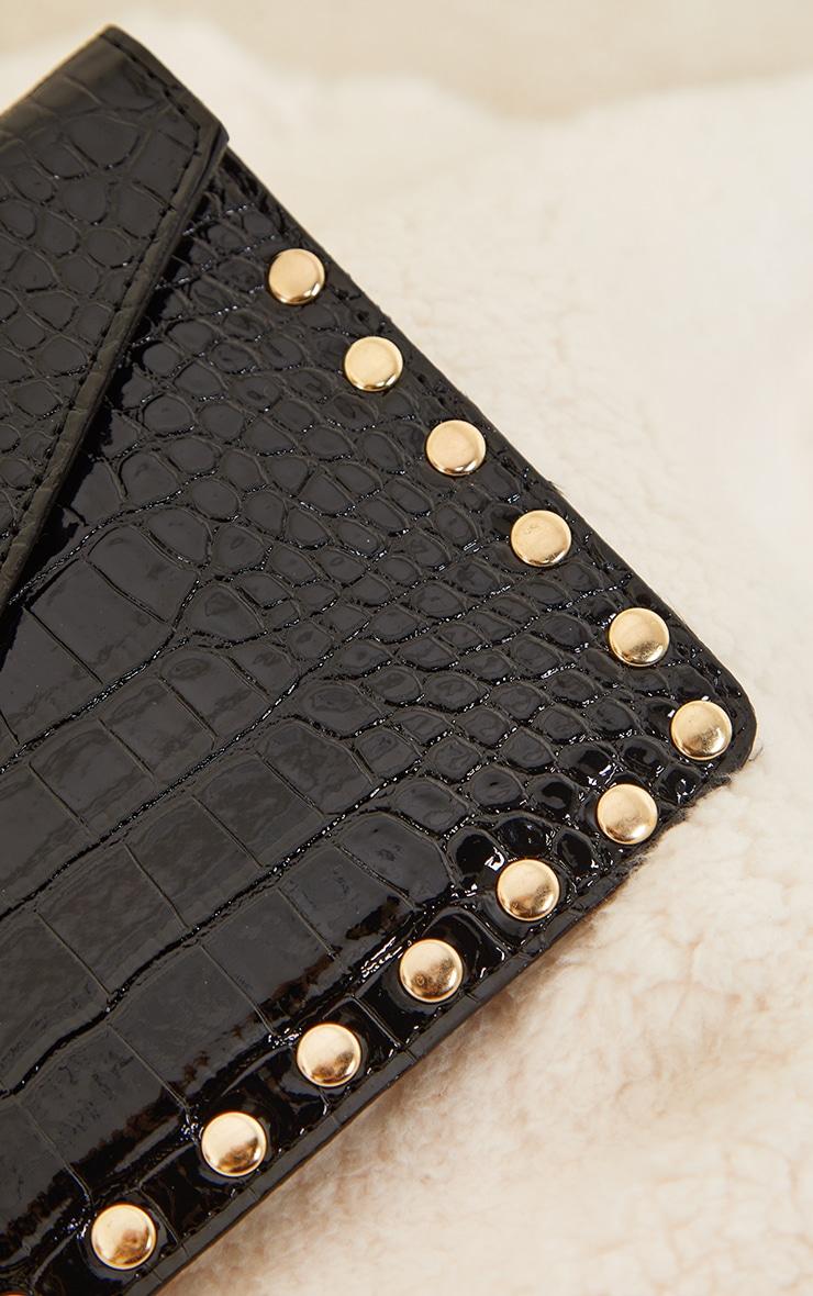 Black Patent Croc Gold Studded Envelope Clutch Bag 3