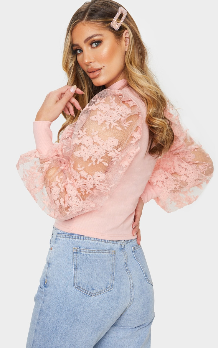 Blush Floral Embroidered Puff Sleeve Rib Long Top 2