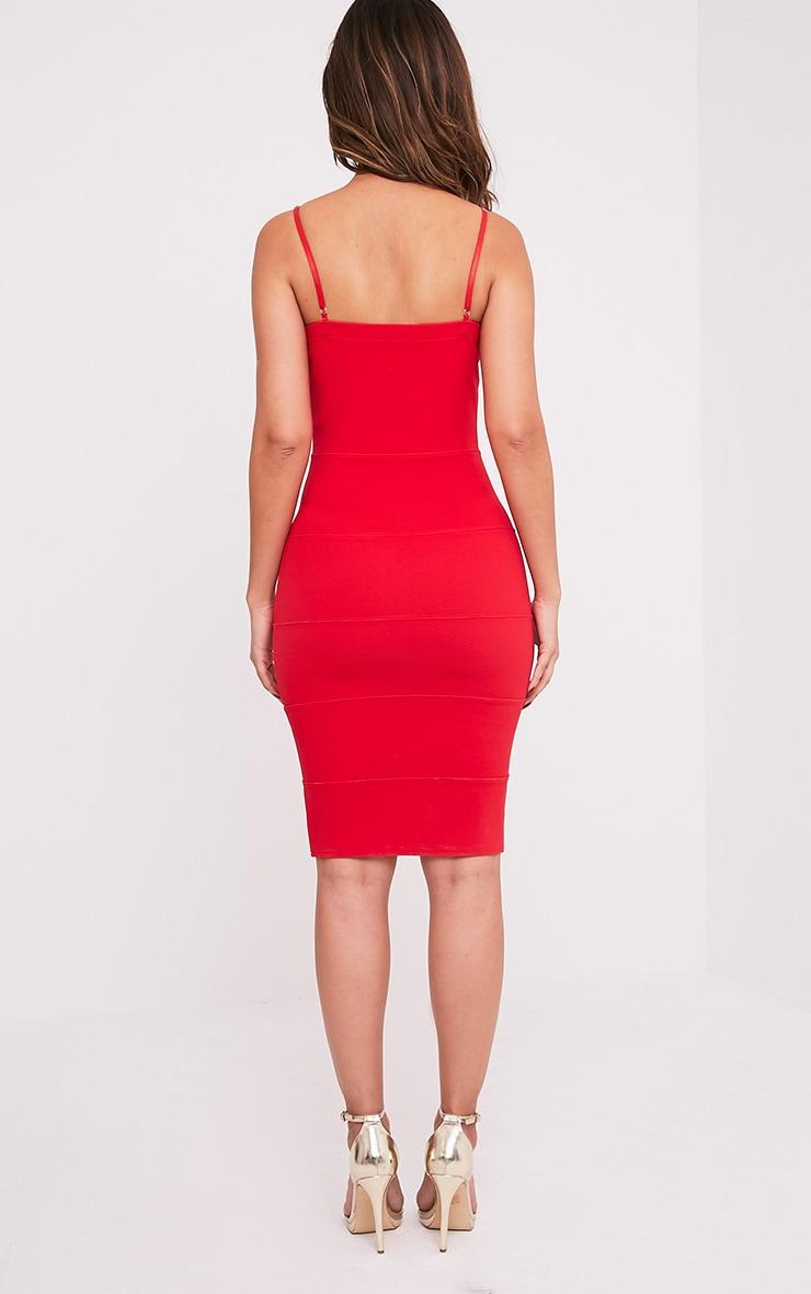 Ebony Red Strappy Bandage Dress 2