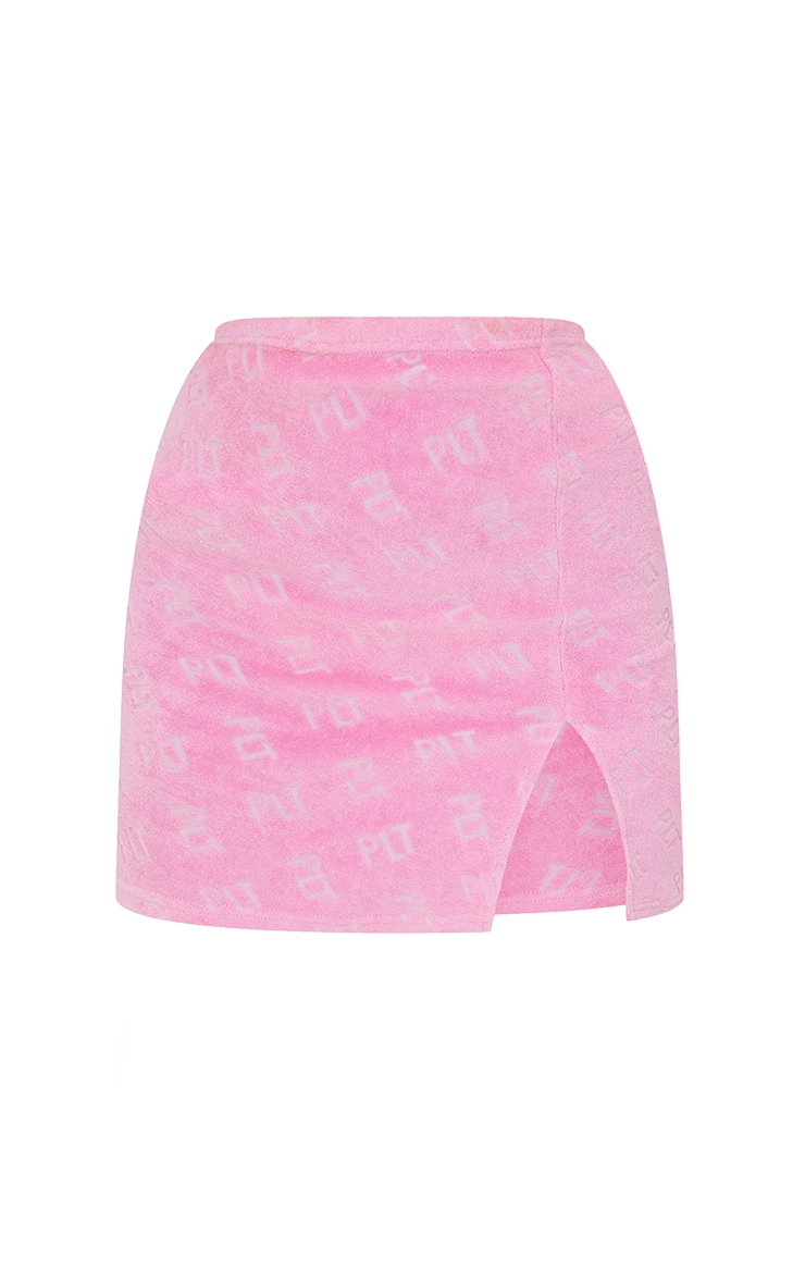 PRETTYLITTLETHING Hot Pink Towelling Mini Skirt 7