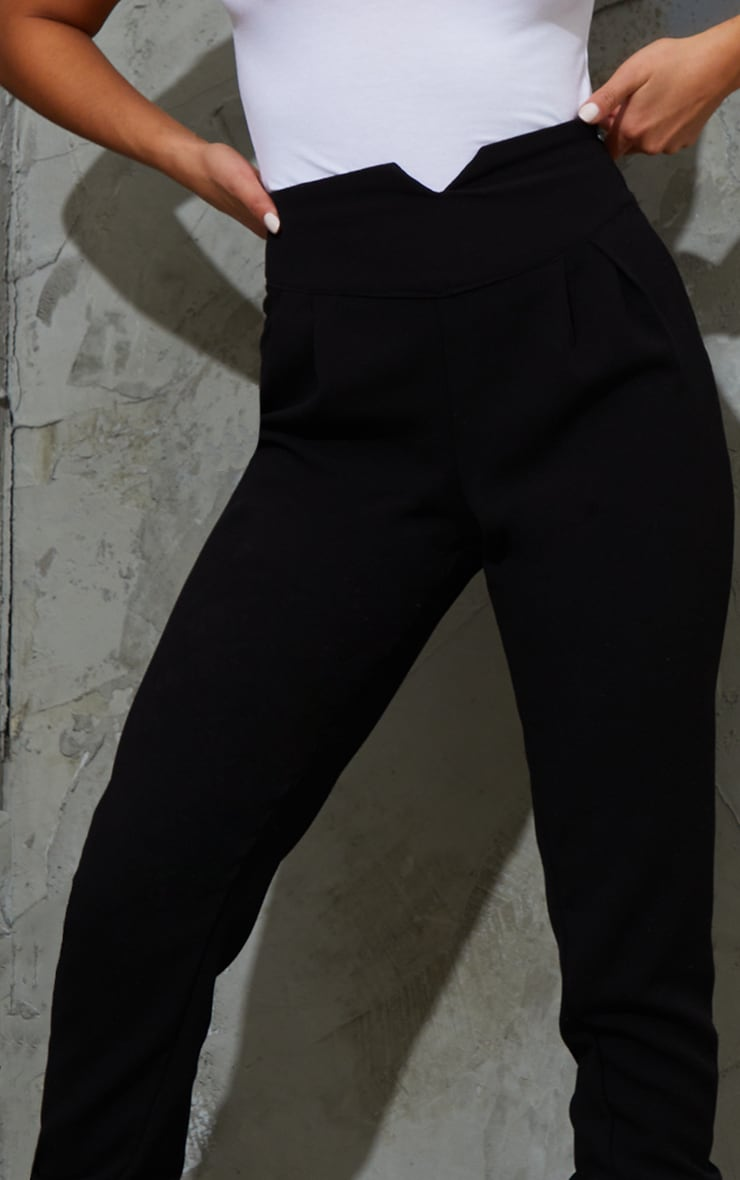 Petite Black High Waisted Tapered Trousers 4