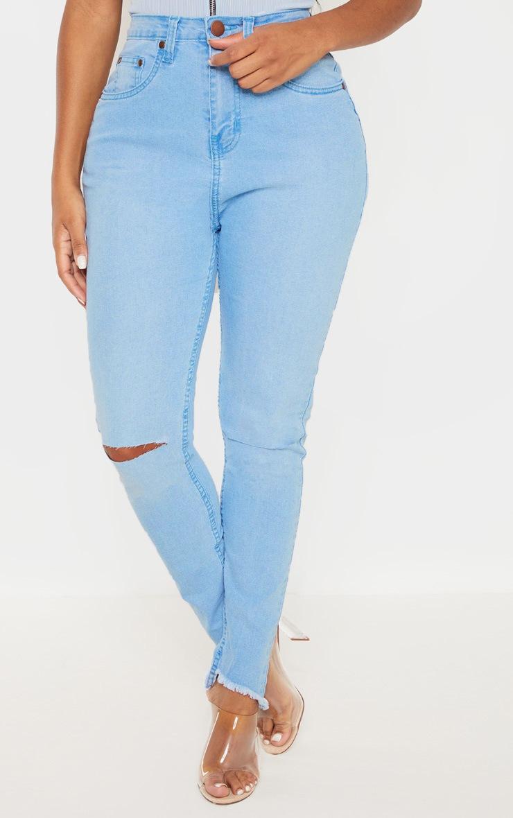 Shape Light Wash Distressed High Waisted Skinny Jeans 2