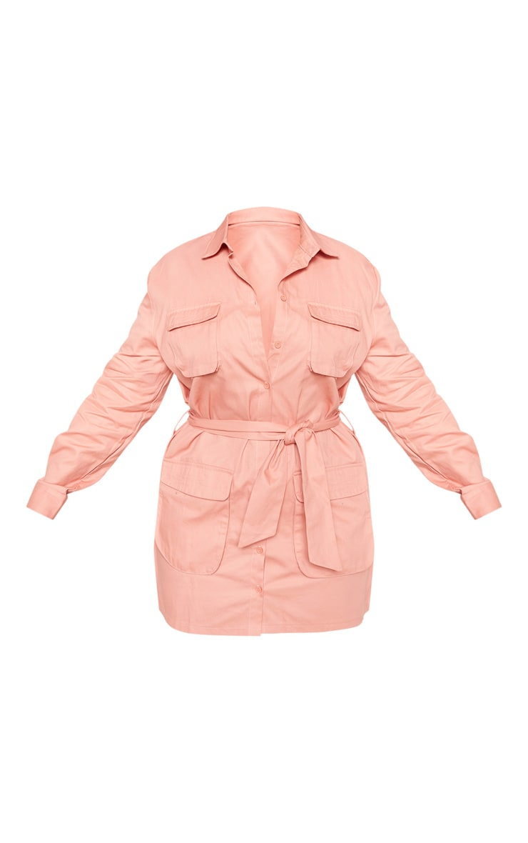 Plus Peach Utility Tie Waist Shirt Dress 3