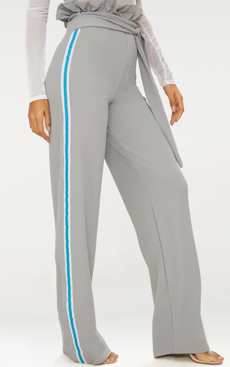 Grey Sport Stripe Paperbag Wide Leg Trouser 2