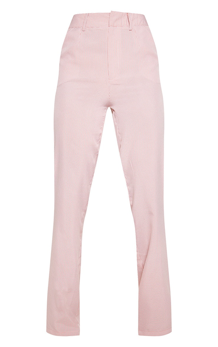 Dusty Pink Check Contrast Satin Tape Flare Leg Trouser  3
