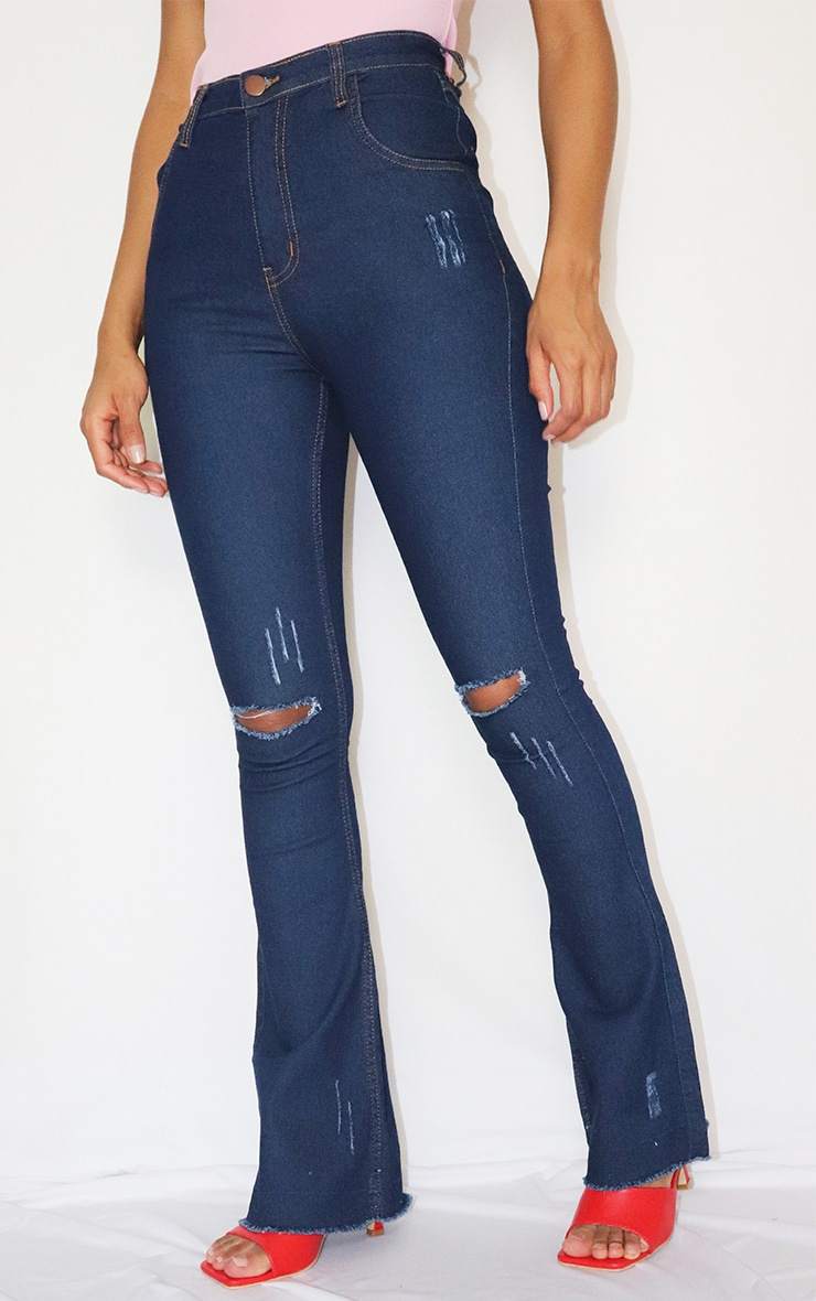 Indigo Distressed Knee Flare Jeans 2
