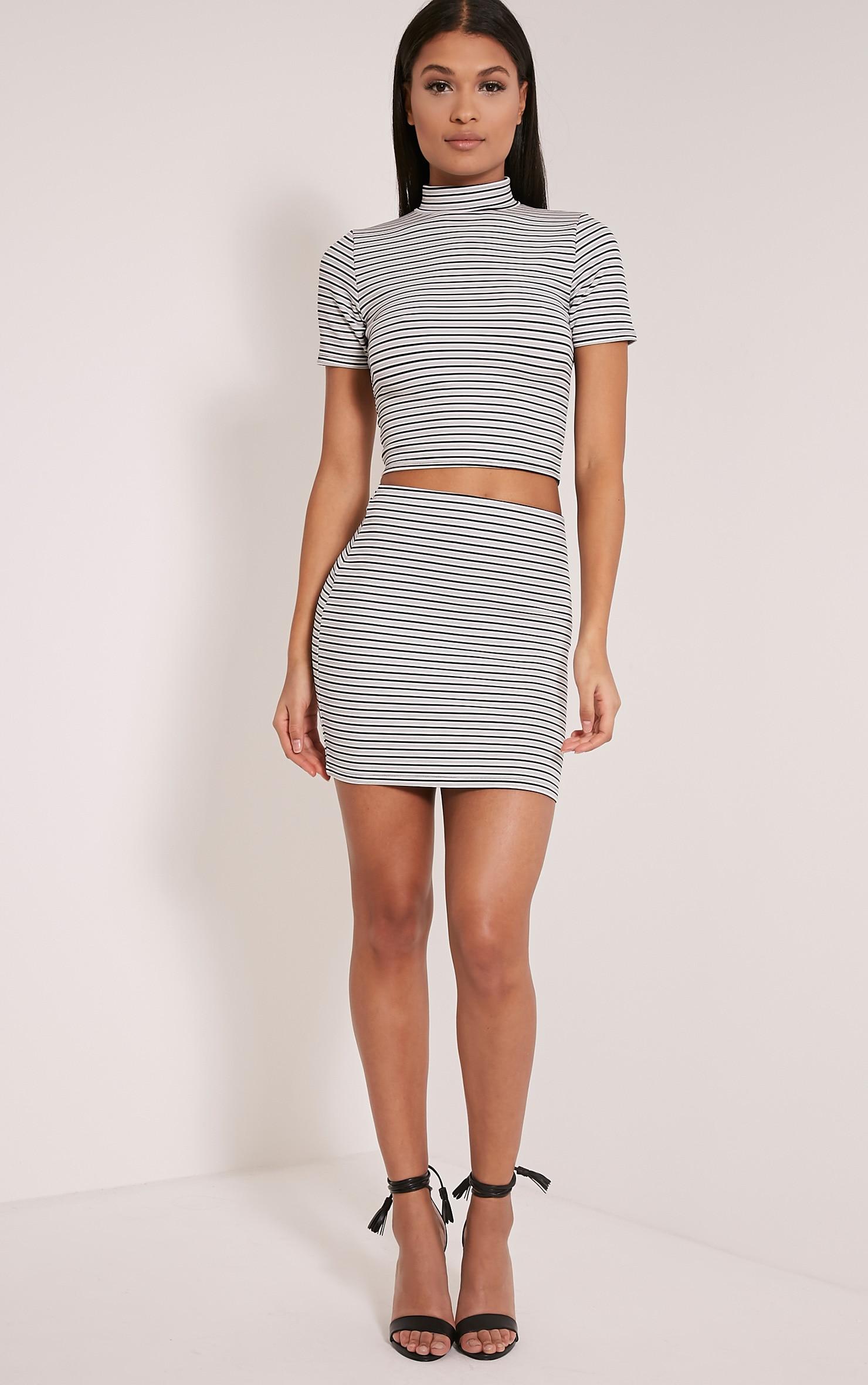 Leoni White Stripe Mini Skirt 1