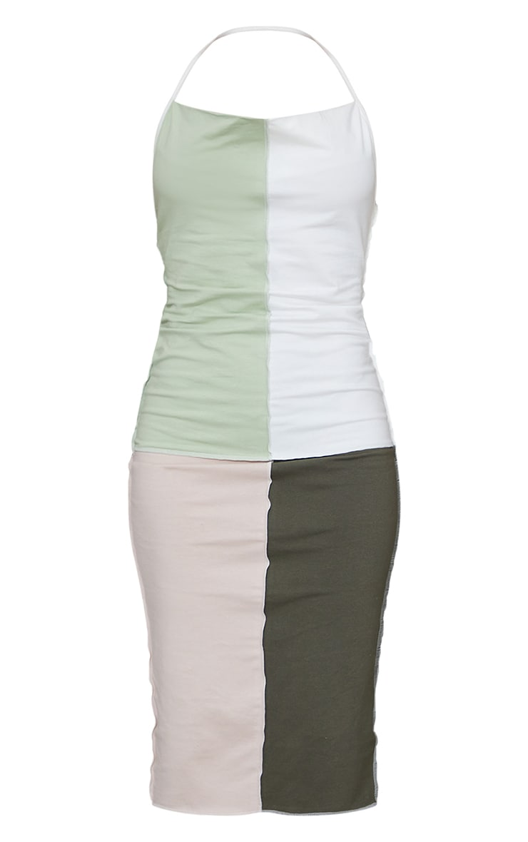 Green Patchwork Overlock Stitch Detail Halterneck Midi Dress 5