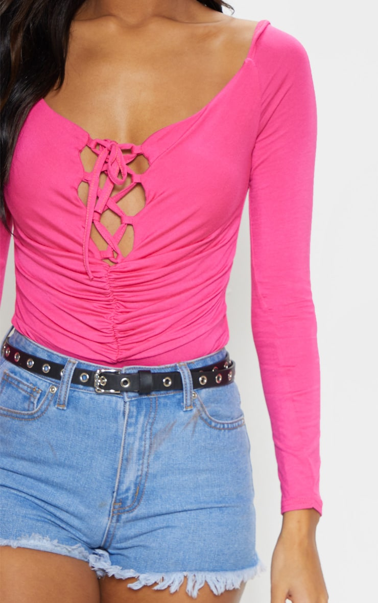 Hot Pink Jersey Lace Up Puff Sleeve Bodysuit 6