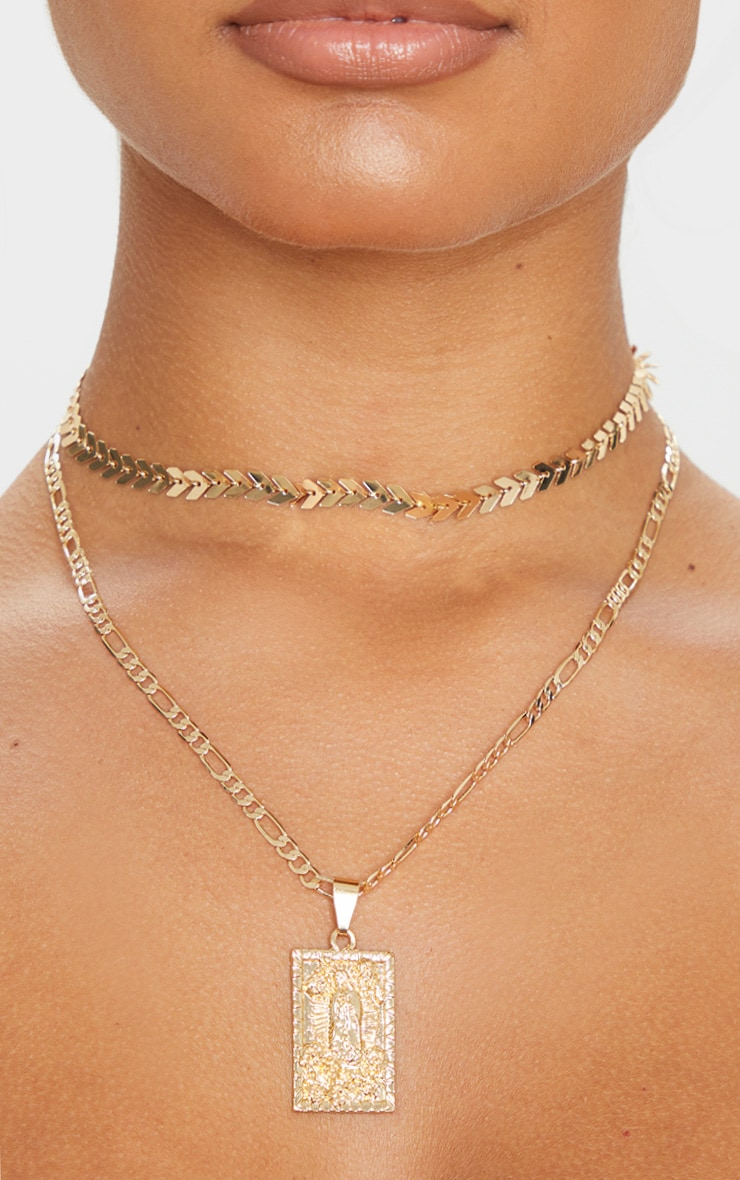 Gold Double Layer Renaissance Layering Necklace 2