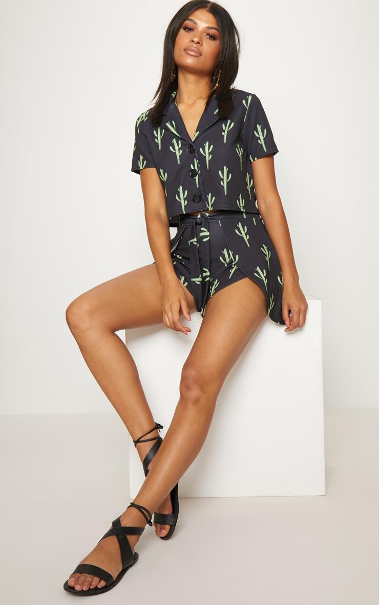 Black Cactus Print Crop Shirt 4
