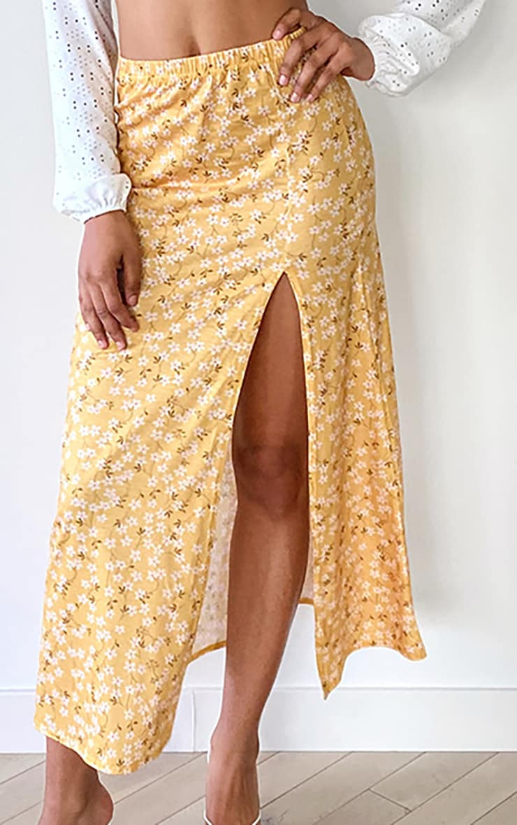 Tall Yellow Ditsy Floral Jersey Side Split Midi Skirt 4