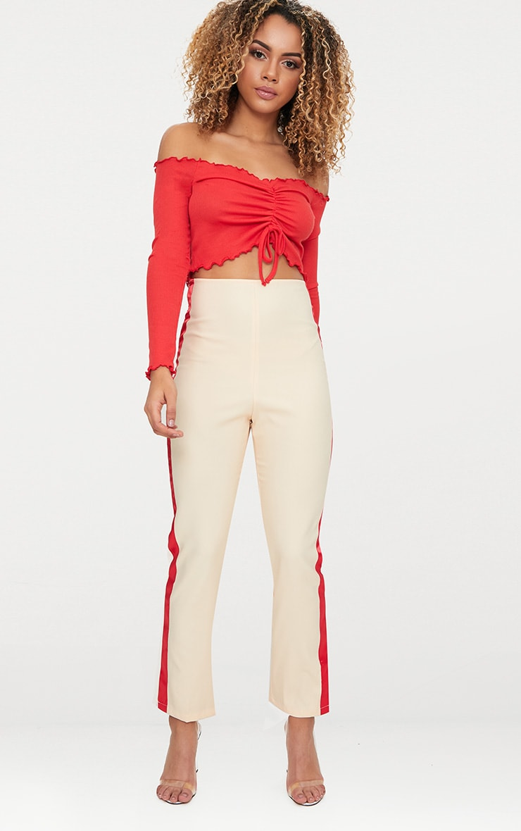 Red Frill Edge Tie Front Rib Crop Top  4