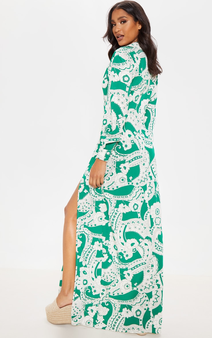 Green Paisley Print Split Front Maxi Shirt Dress 2