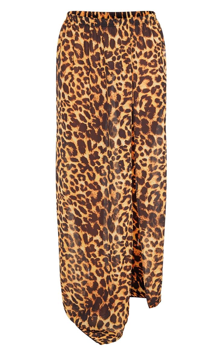 Jupe de plage léopard à taille haute et fente 3