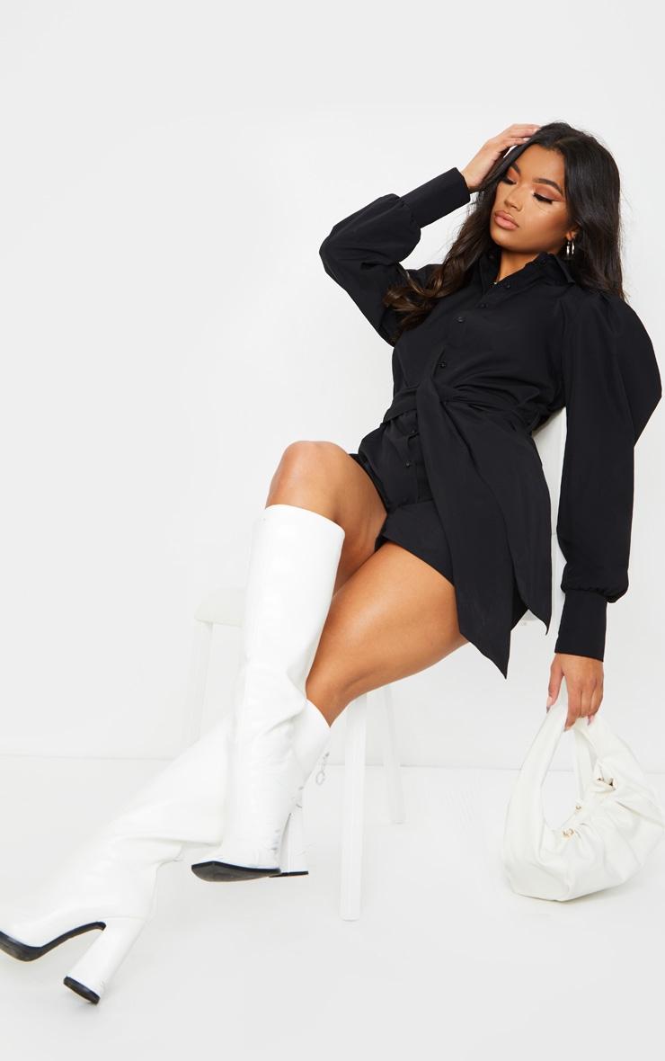 Black Puff Shoulder Long Sleeve Belt Detail Shirt Dress 3