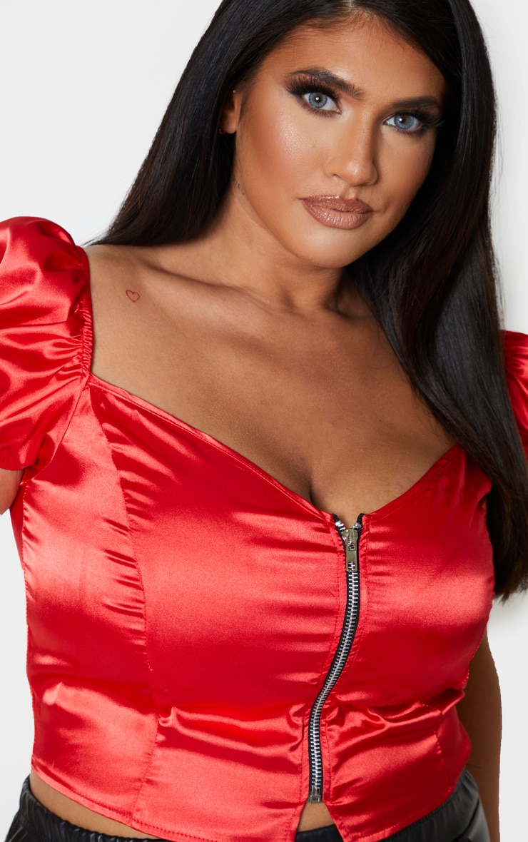 Plus Red Satin Puff Sleeve Crop Top 5