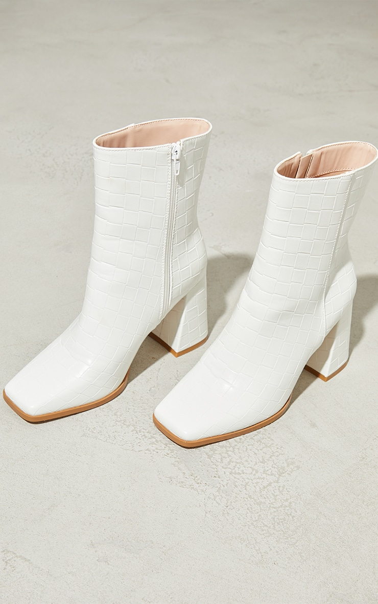 White Wide Fit Square Toe Flare Heeled Ankle Boots 3
