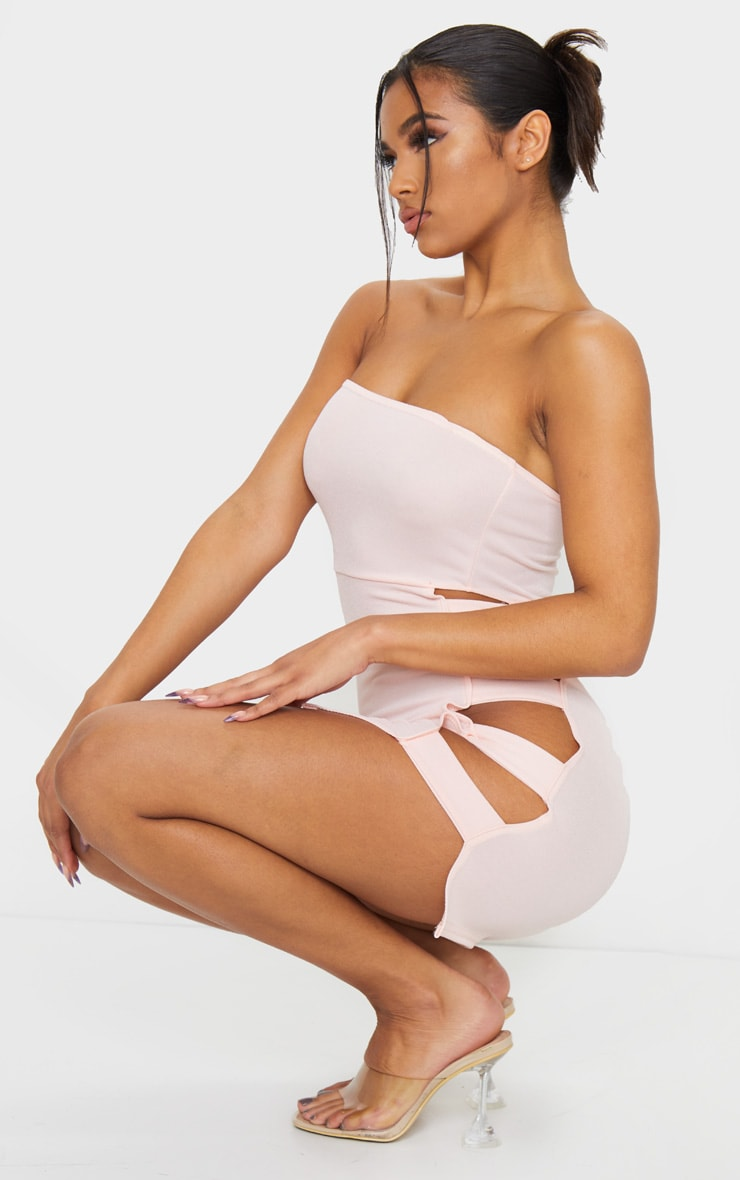 Nude Bandeau Strappy Side Bodycon Dress 3