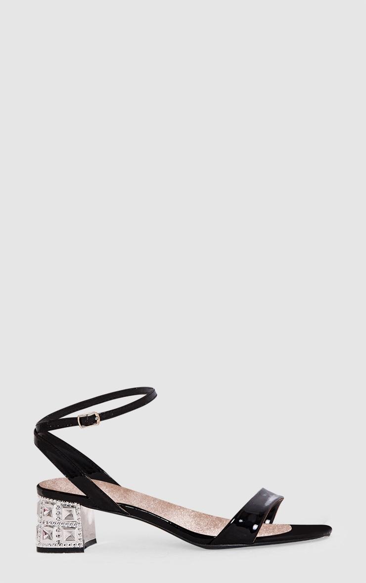 Black Low Block Single Strap Heels 3